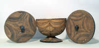 Decorated wooden bowl with two lids