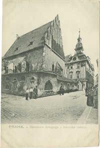 Praha. - Staronová synagoga a židovská radnice.