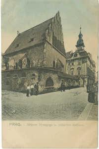 Prag. - Altneue Synagoge u. jüdisches Rathaus.