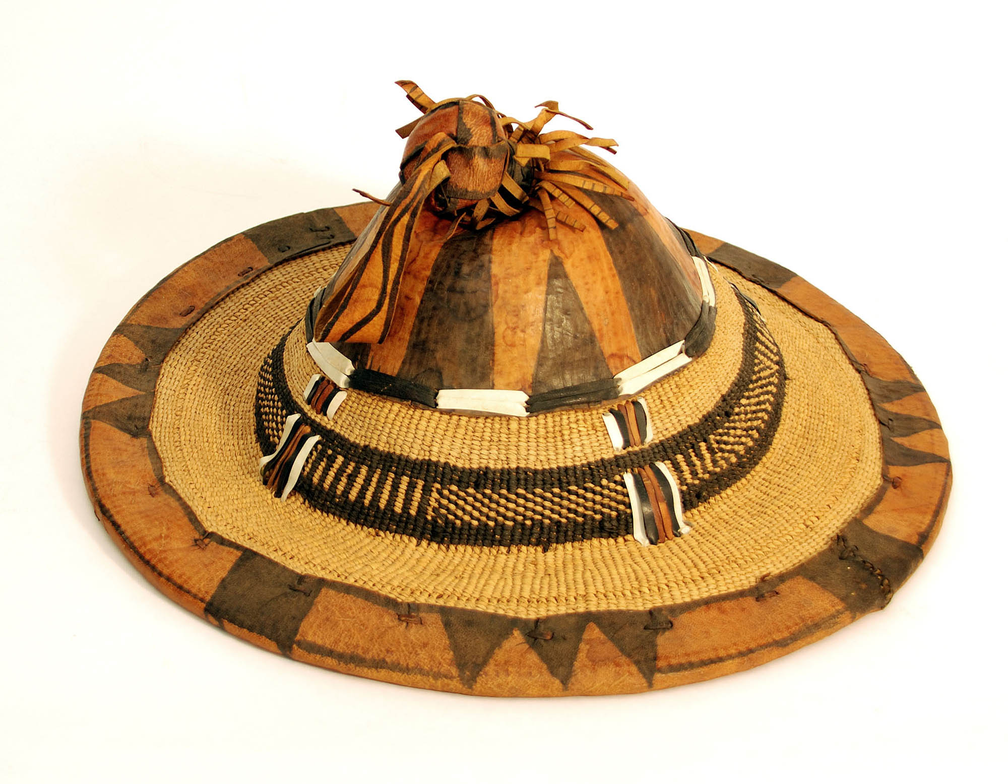 Straw and leather hat