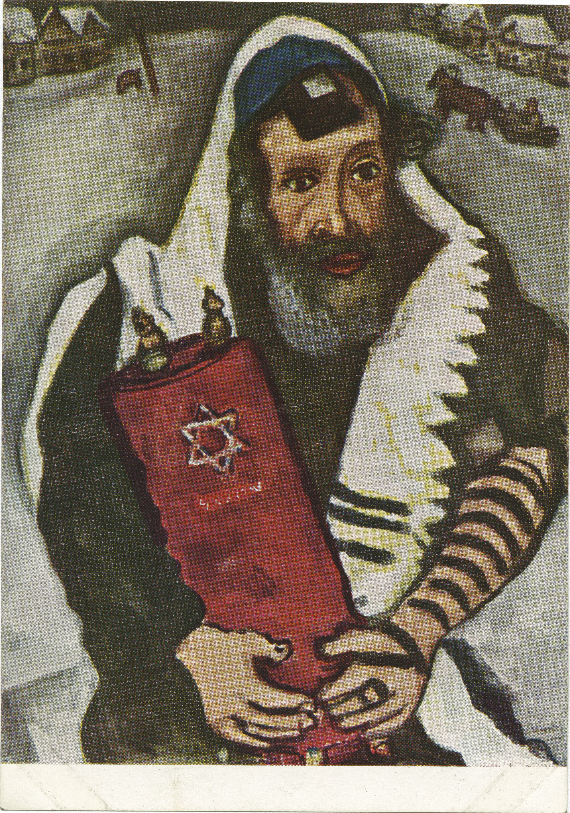 Marc Chagall, 1887. Rabbi met Wetsrol / Rabbi with Thora / Rabbin au  Rouleau de la Loi