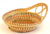 Multicolored sweetgrass basket