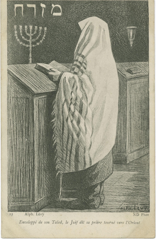 Enveloppé de son Taled, le Juif dit sa prière tourné vers l'Orient / מזרח