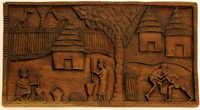 Hanging wood carving