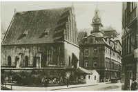 Prager Ghetto. Altneusynagoge. Jüdisches Rathaus mit hebräischer Uhr.