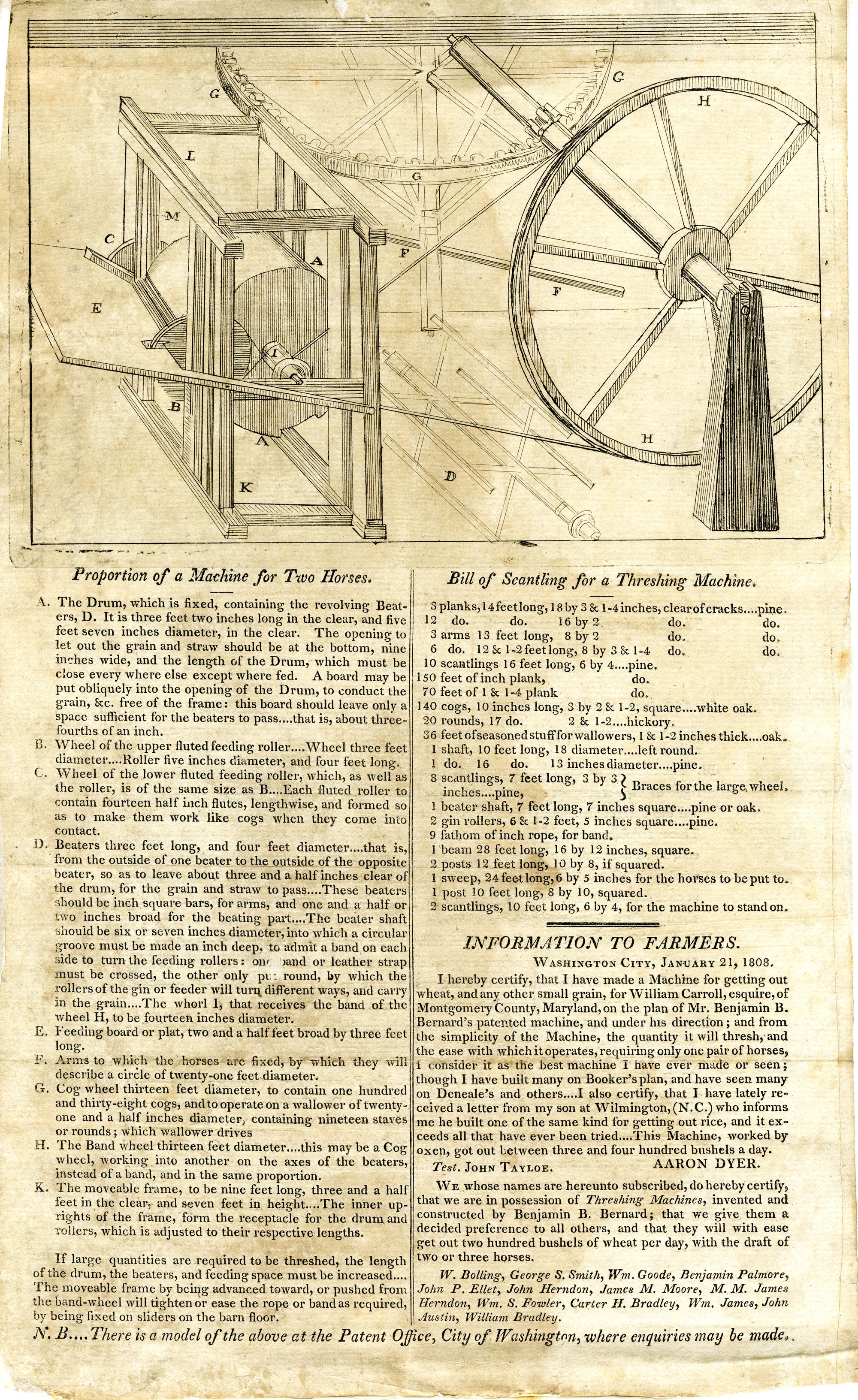 Bernard's patent threshing machine