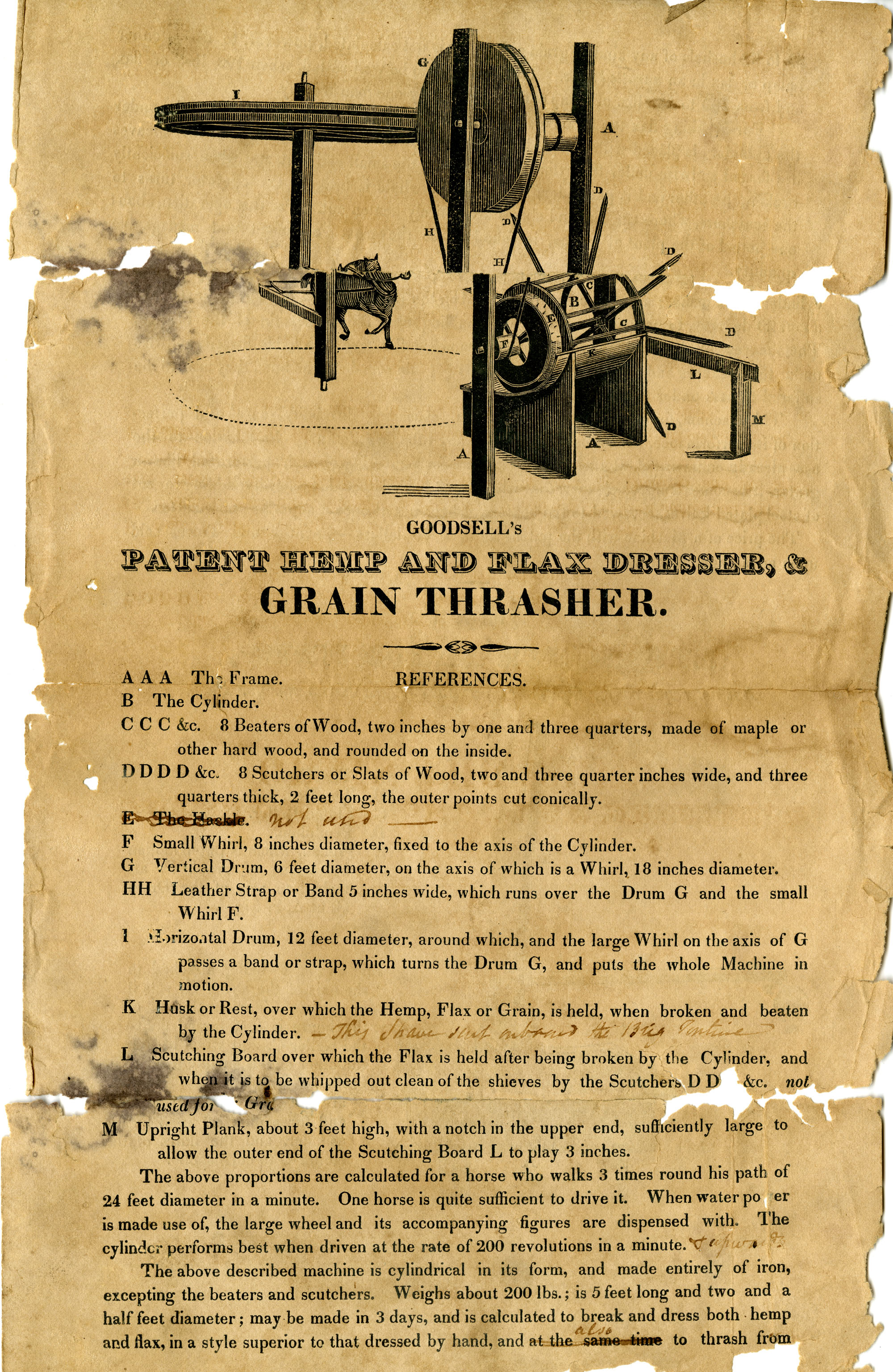 Illustrated advertisement for Goodsell's patent hemp and flax dresser & grain thrasher