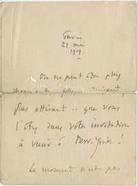 Letter from Jules Massenet to Meltzer, May 21, 1909