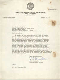 Letter from J. E. Marshall to Cleveland Sellers, January 29, 1971