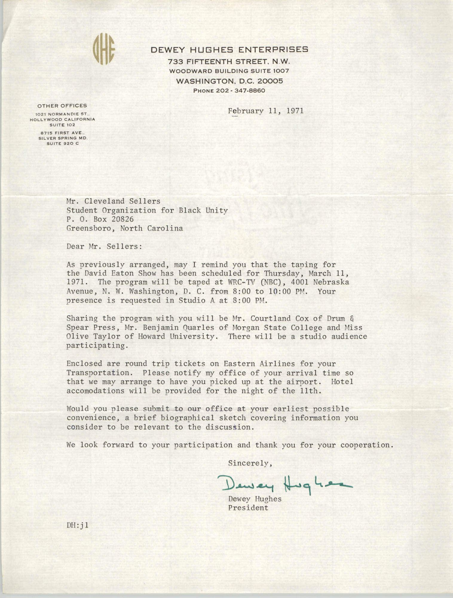 Letter from Dewey Hughes to Cleveland Sellers, February 11, 1971