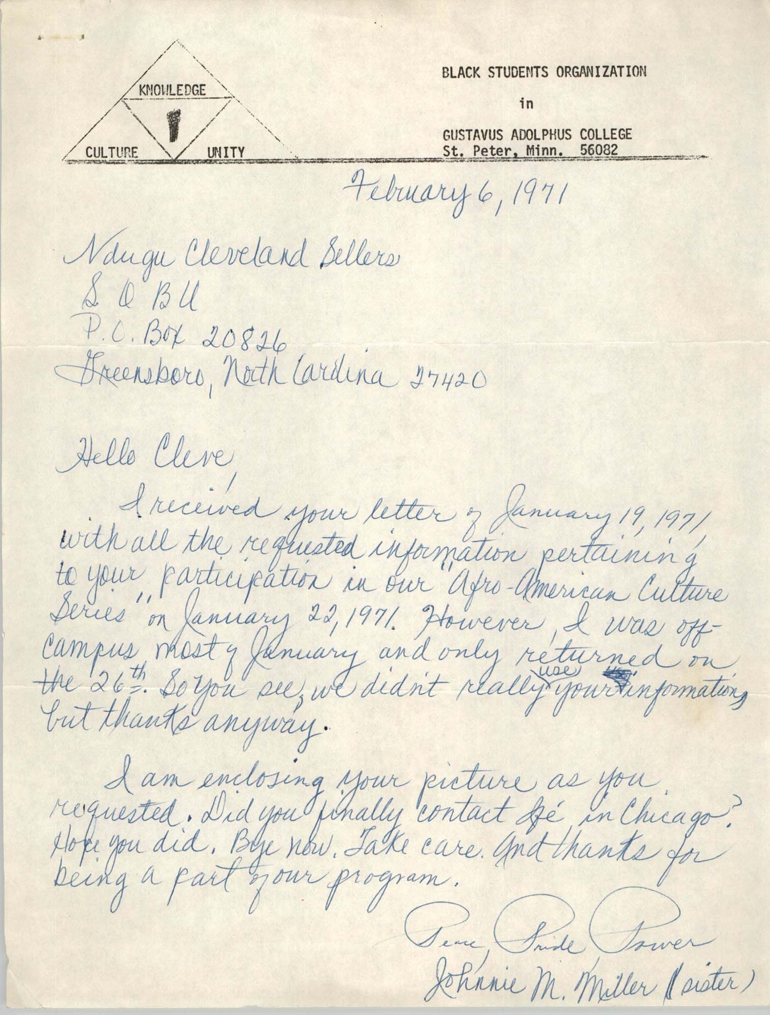 Letter from Johnnie M. Miller to Cleveland Sellers, February 6, 1971
