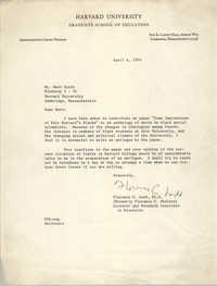 Memorandum from Florence C. Ladd to Mark Smith, April 6, 1970