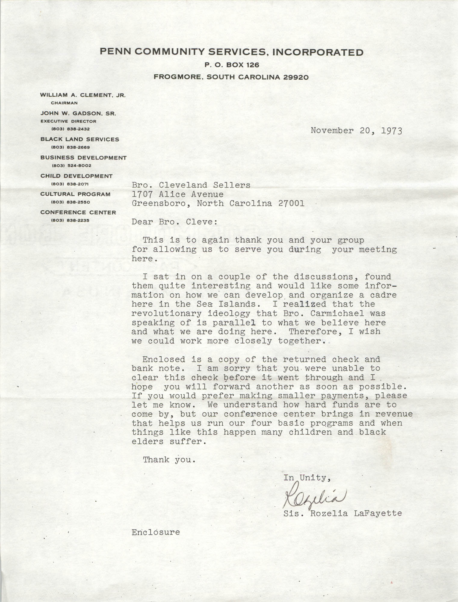 Letter from Rozelia LaFayette to Cleveland Sellers, November 20, 1973