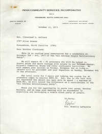 Letter from Rozelia LaFayette to Cleveland Sellers, October 12, 1973