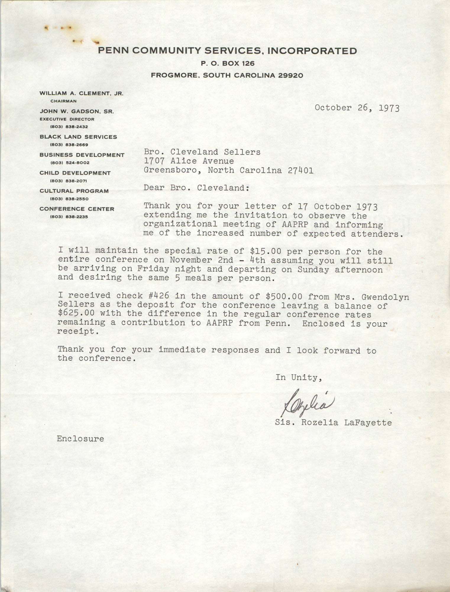 Letter from Rozelia LaFayette to Cleveland Sellers, October 26, 1973