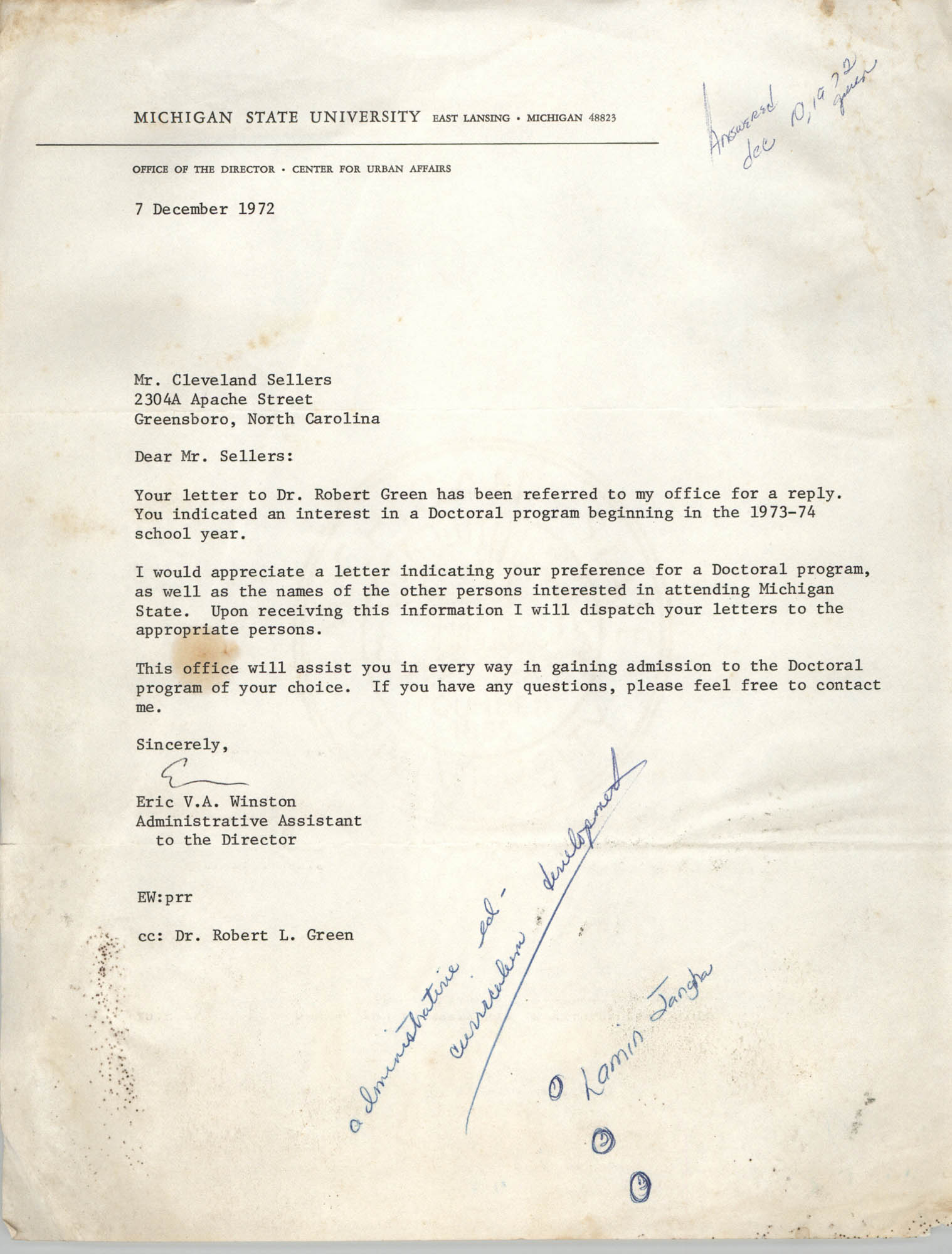 Letter from Eric V. A. Winston to Cleveland Sellers, December 7, 1972