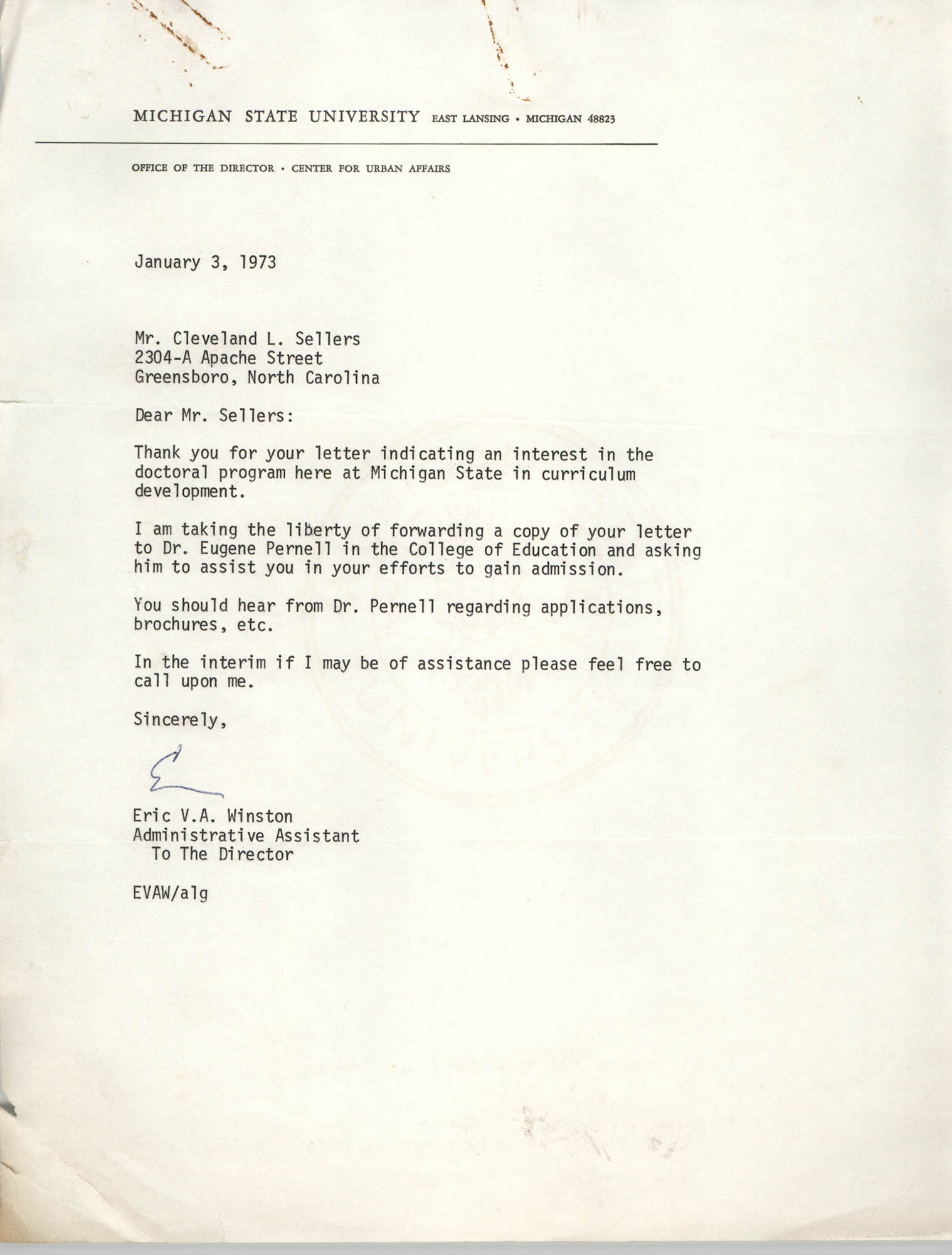 Letter from Eric V. A. Winston to Cleveland Sellers, January 3, 1973