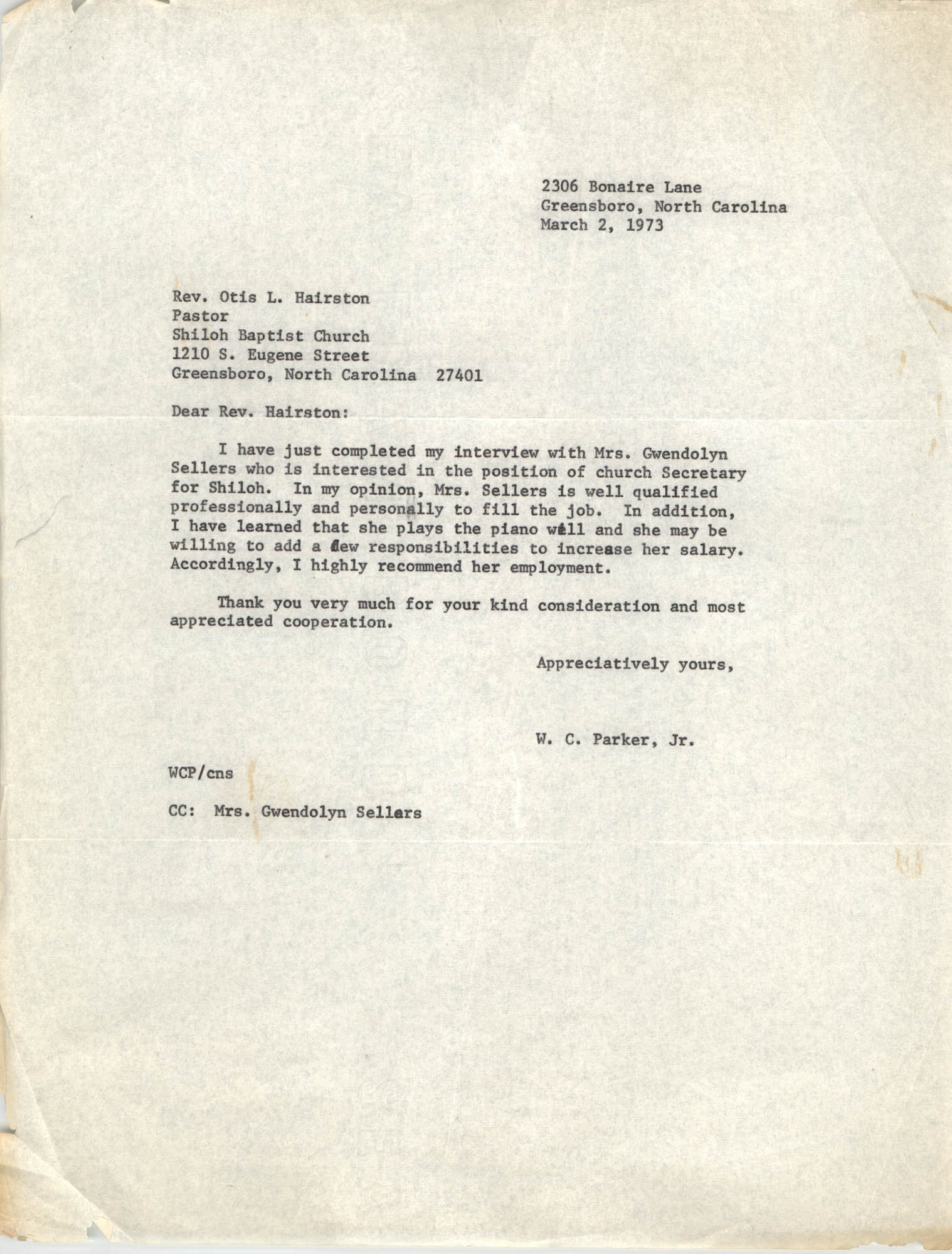 Letter from W. C. Parker, Jr. to Otis L. Hairston, March 2, 1973