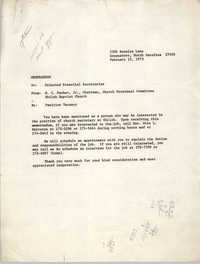 Memorandum from W. C. Parker, Jr. to Selected Potential Secretaries