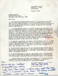 Letter from Ruth and Bud Schultz to Cleveland Sellers, January 3, 1986