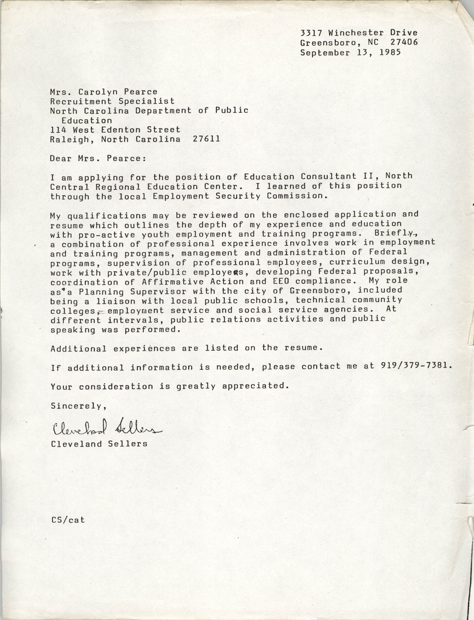Letter from Cleveland Sellers to Carolyn Pearce, September 13, 1985
