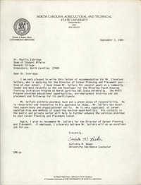 Letter from Carlotta M. Baker to Phyllis Ethridge, September 3, 1985