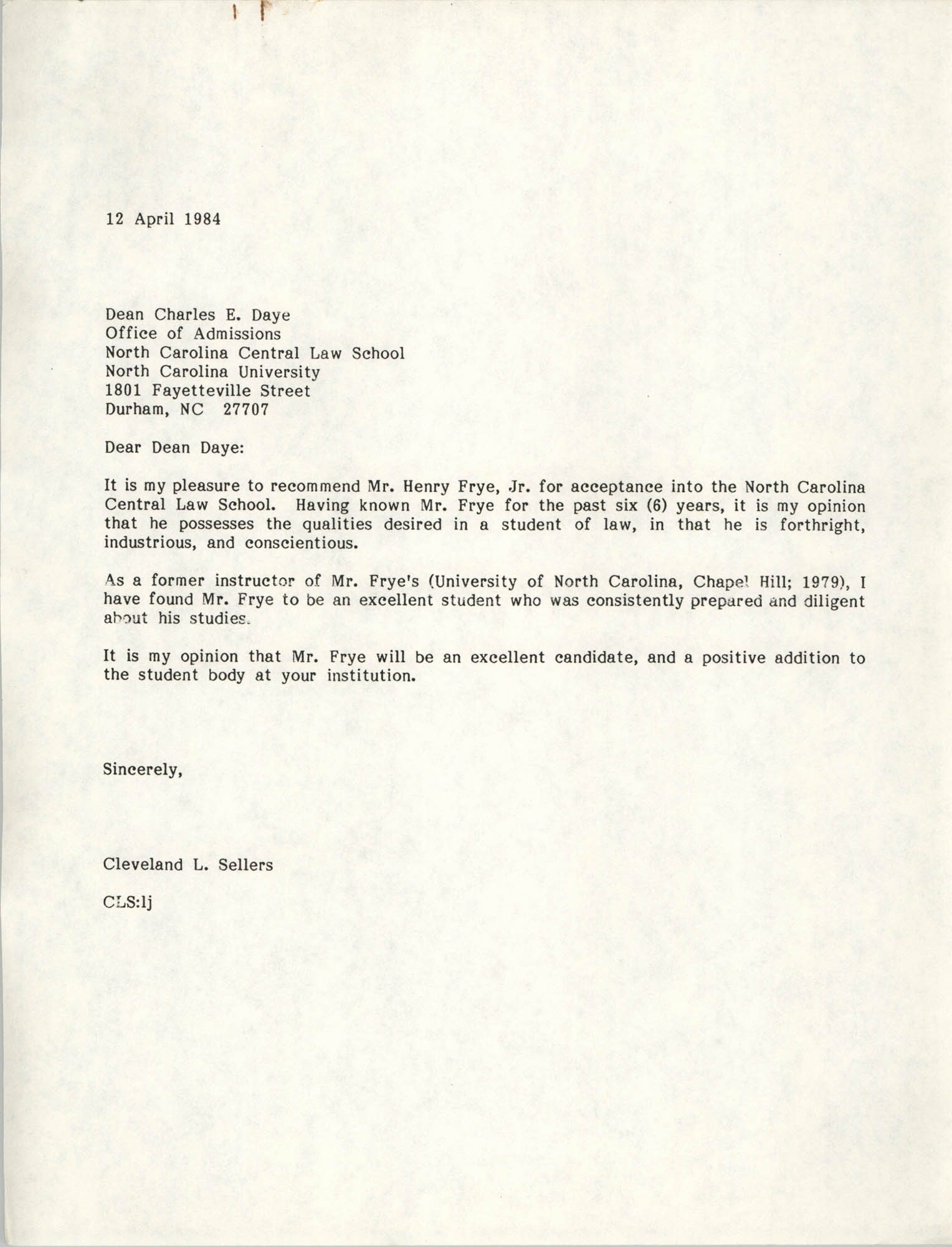 Letter from Cleveland Sellers to Charles E. Daye, April 12, 1984