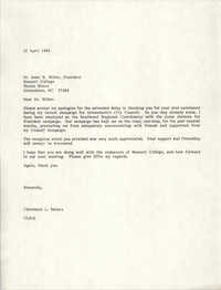 Letter from Cleveland Sellers to Isaac H. Miller, April 12, 1984