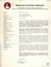 Letter from Lyn Wells to Cleveland Sellers, March 18, 1985