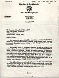 Letter from Patricia D. Petway to Barbara Stock Nielsen, January 31, 1994