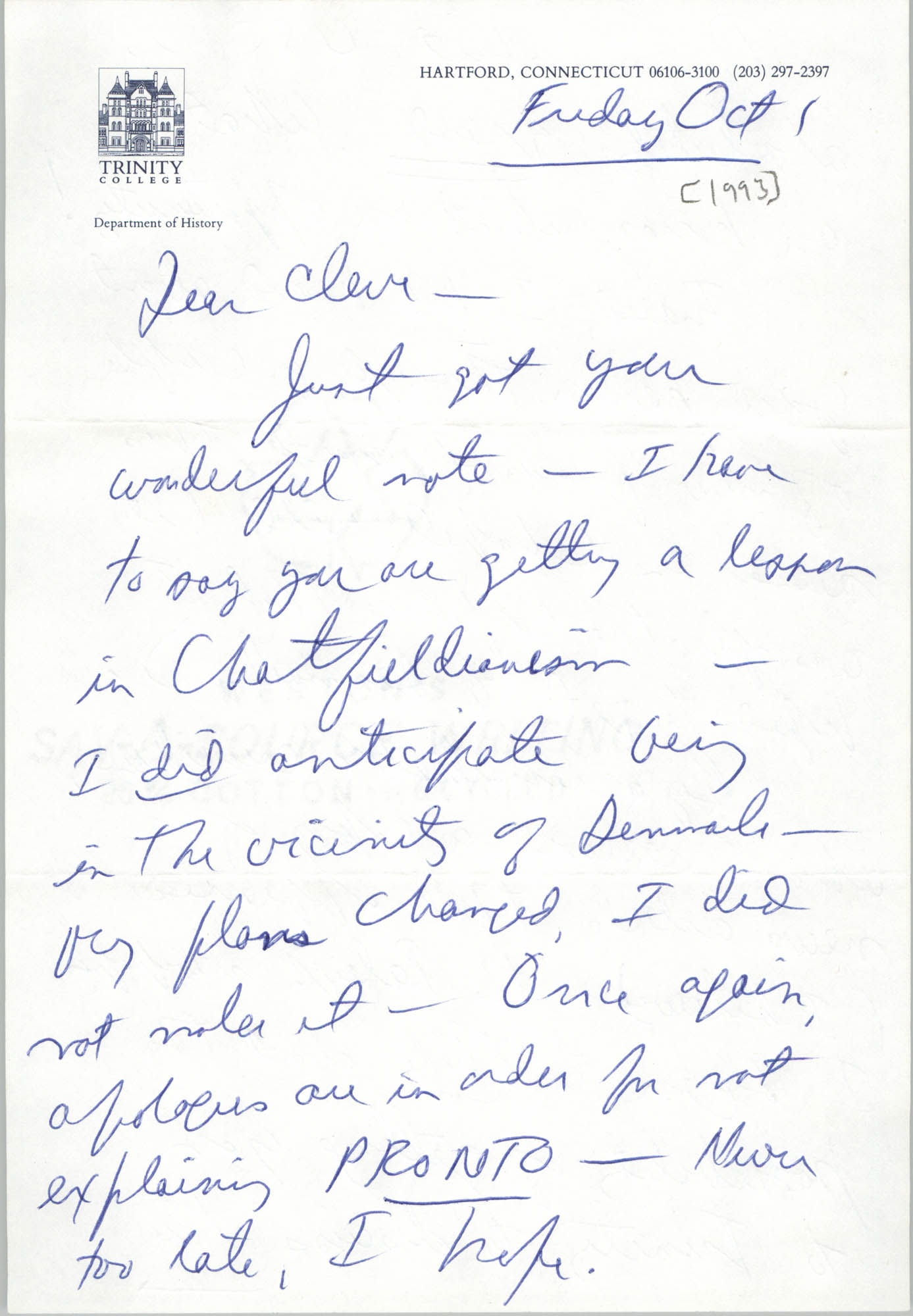 Letter from Jack Bass to Cleveland Sellers, October 1, 1993