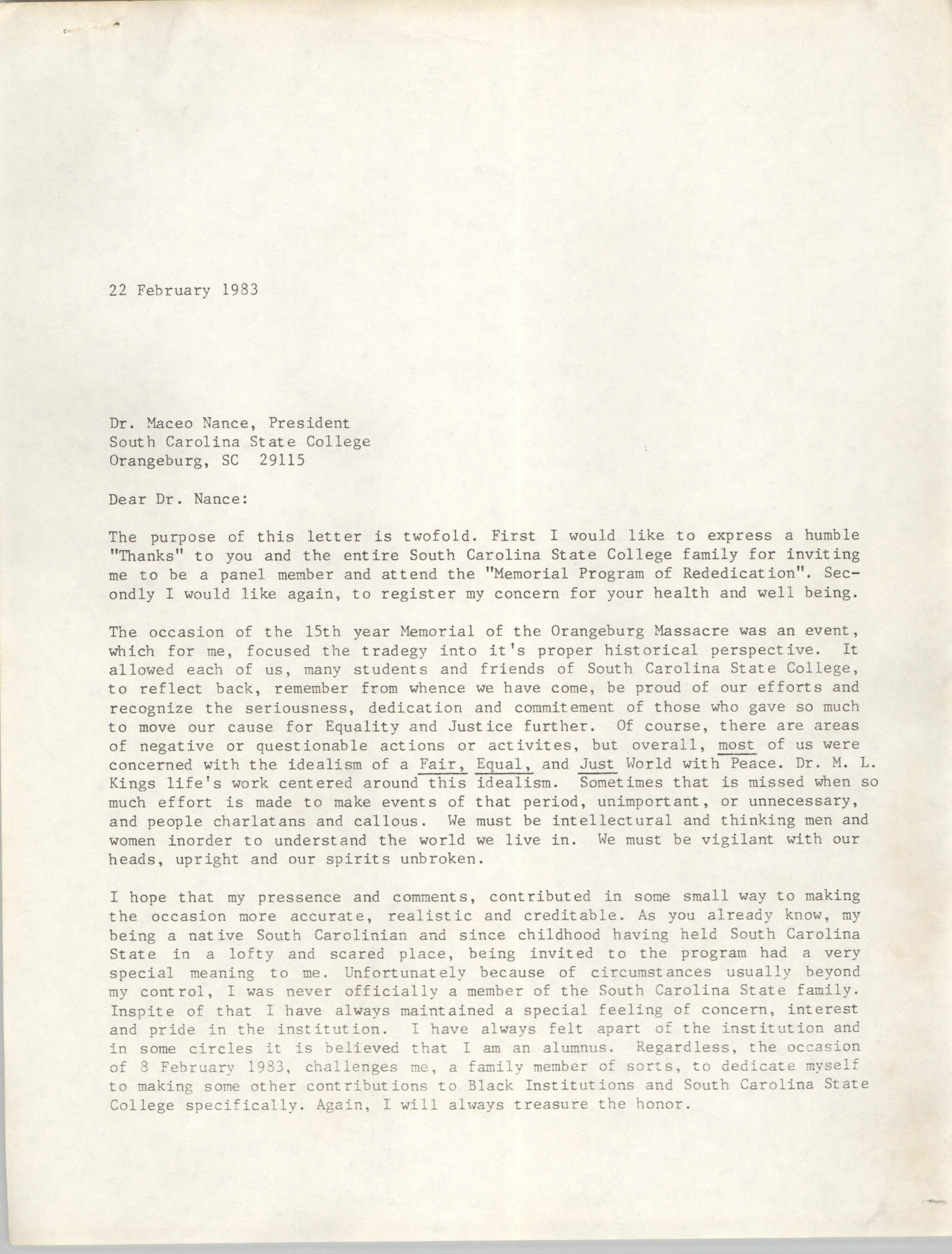 Letter from Cleveland Sellers to Maceo Nance, February 22, 1983