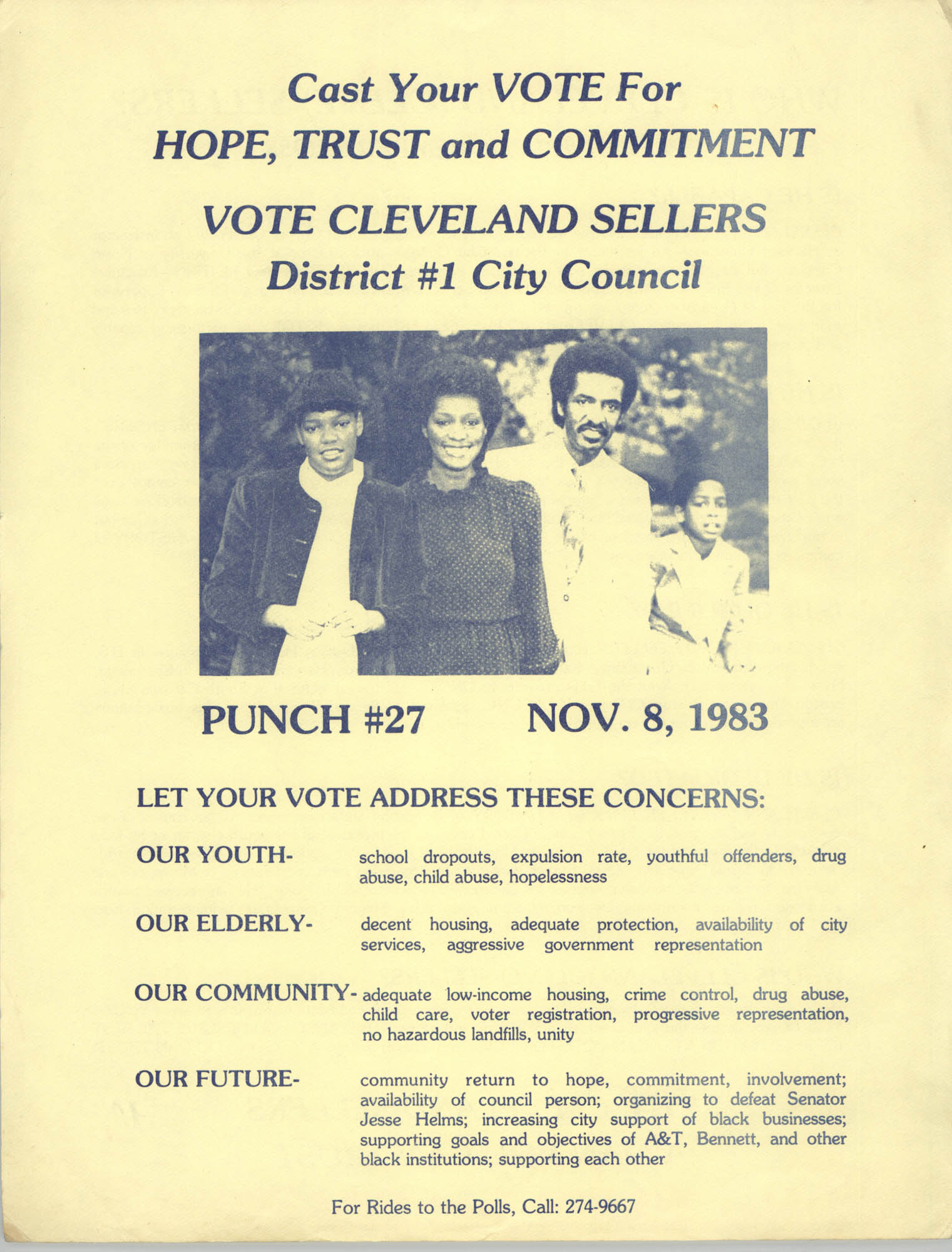 Political Flyer for Cleveland Sellers, District 1 City County, November 8, 1983