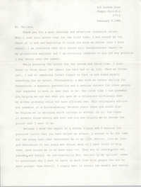 Letter from Bradley L. Kirkman to Cleveland Sellers, February 9, 1986