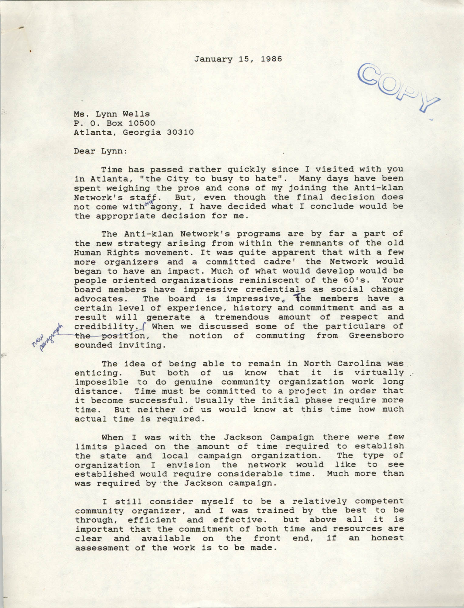 Letter from Cleveland Sellers to Lynn Wells, January 15, 1986