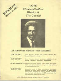 Political Flyer for Cleveland Sellers, District 1 City County, October 11, 1983