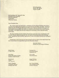 Letter to Samuel K. Doe, August 10, 1988