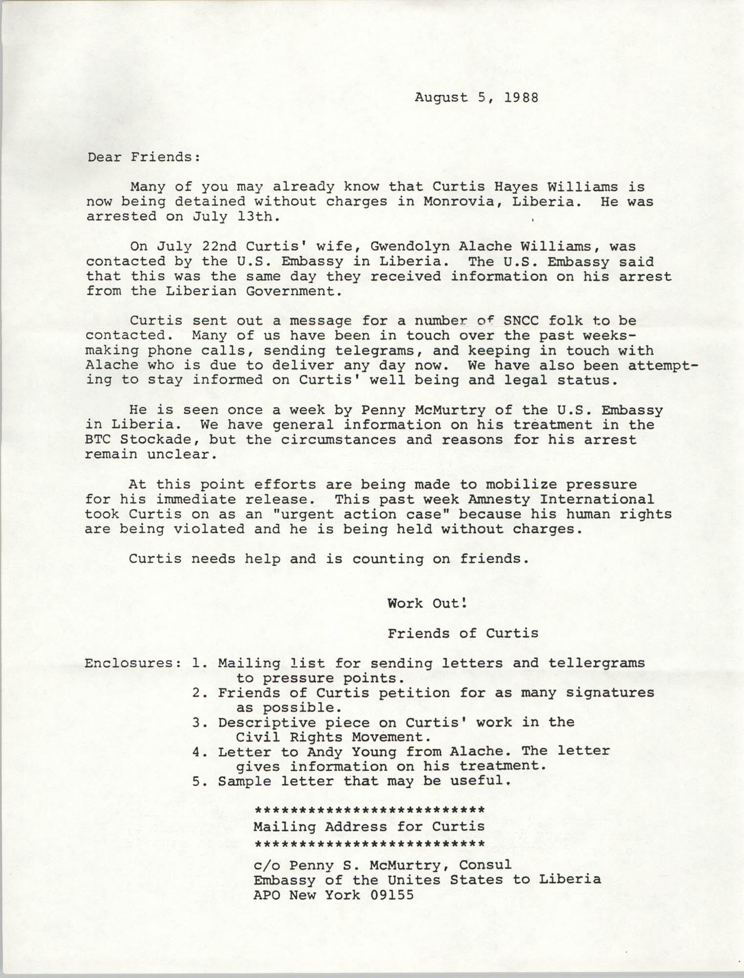 Letter from Friends of Curtis, August 5, 1988