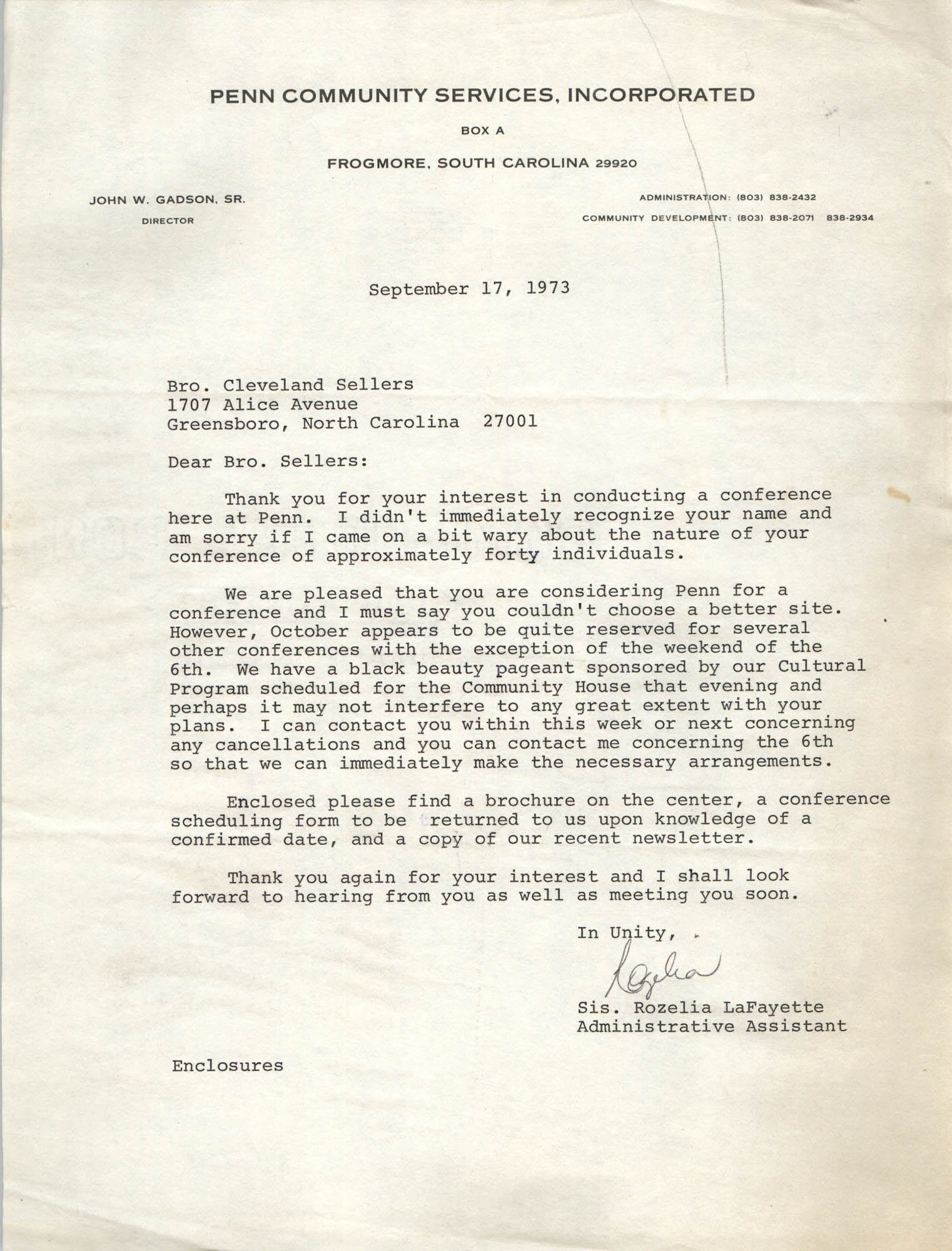 Letter from Rozelia LaFayette to Cleveland Sellers, September 17, 1973