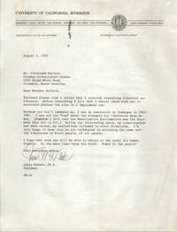 Letter from Jesse McDade to Cleveland Sellers, August 3, 1973