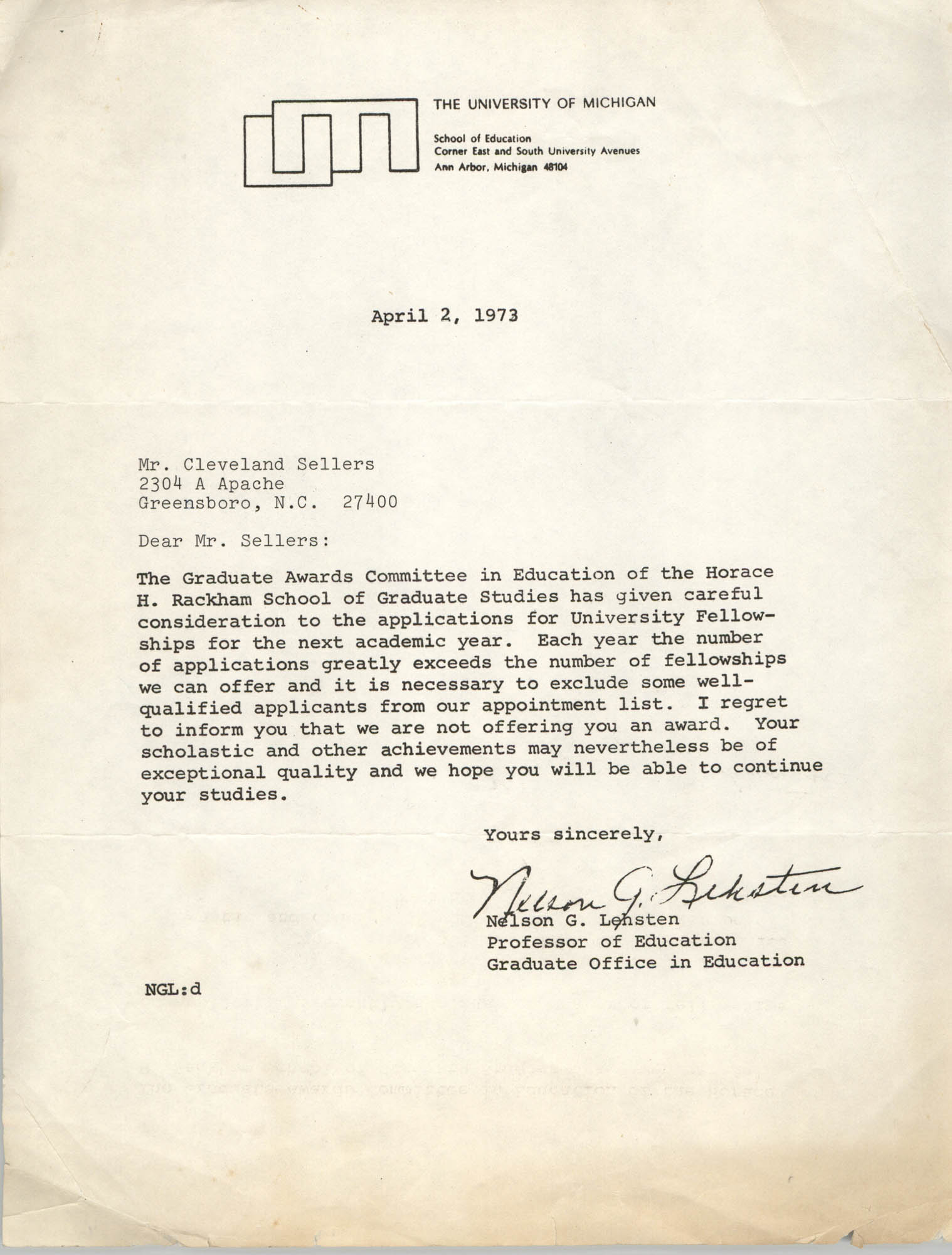 Letter from Nelson G. Lehsten to Cleveland Sellers, April 2, 1973