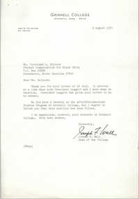 Letter from Joseph F. Wall to Cleveland Sellers, August 9, 1971
