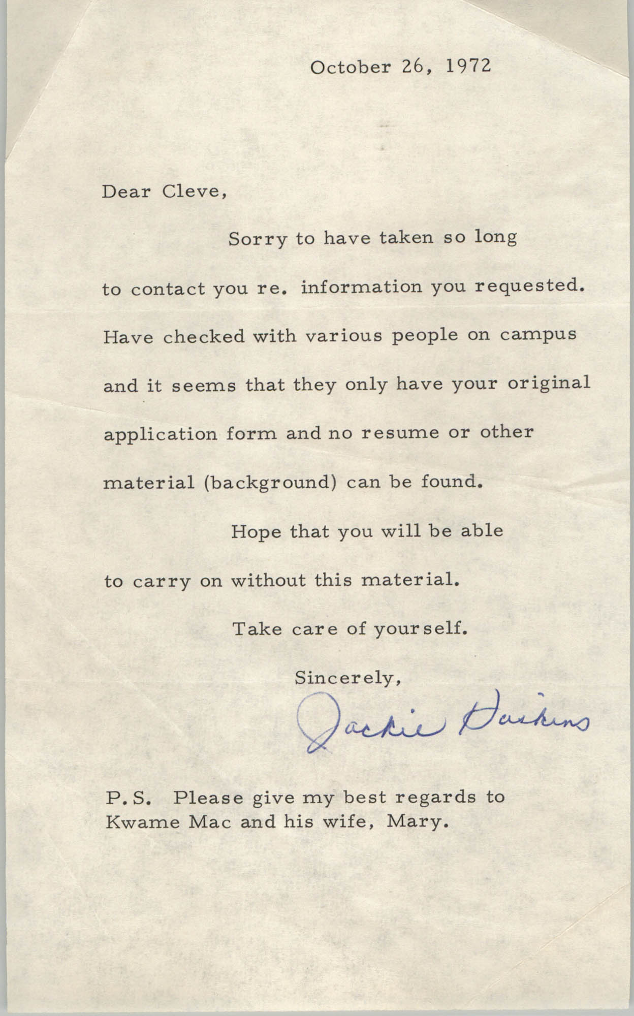 Letter from Jackie Haskins to Cleveland Sellers, October 26, 1972
