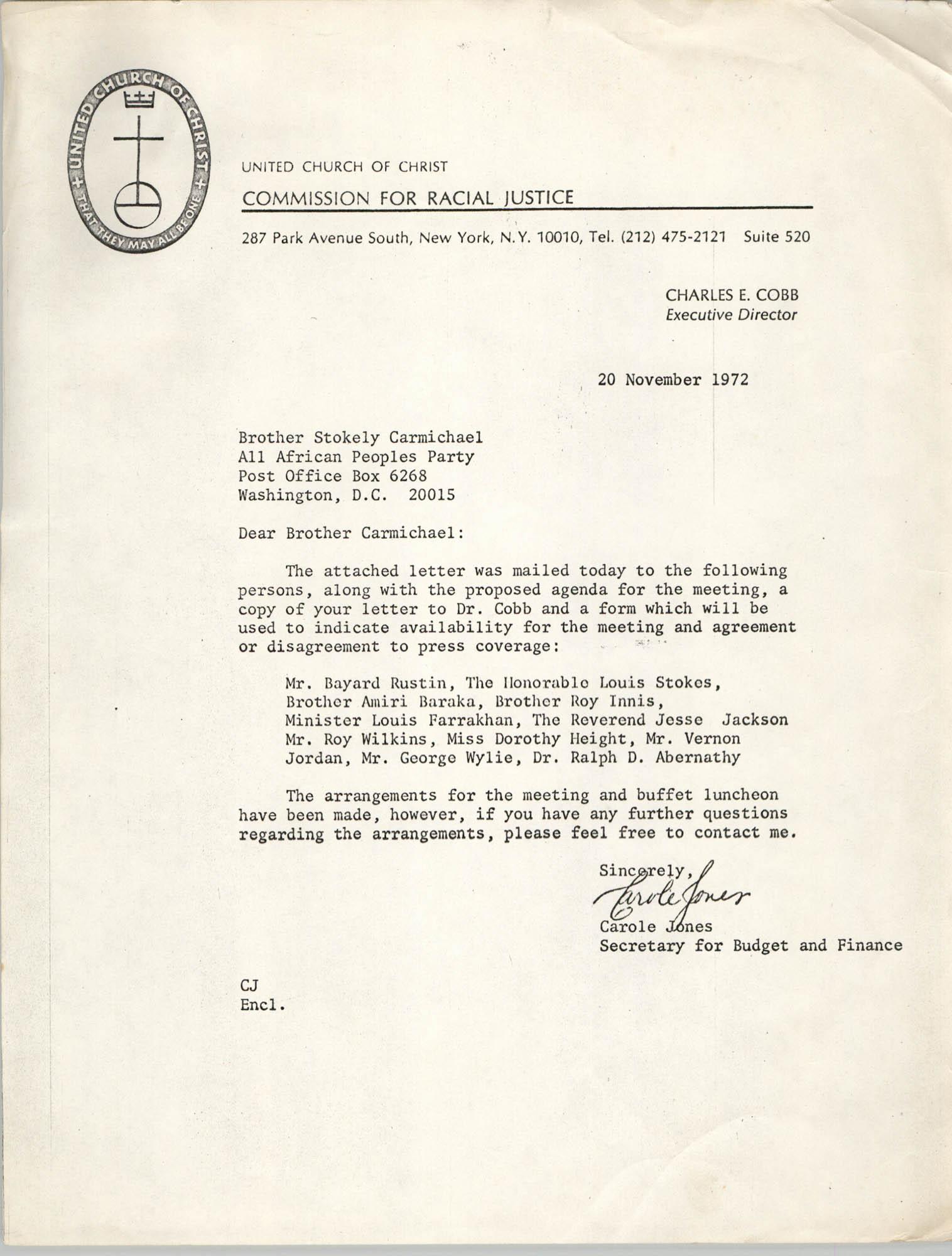 Letter from Carole Jones to Stokely Carmichael, November 20, 1972
