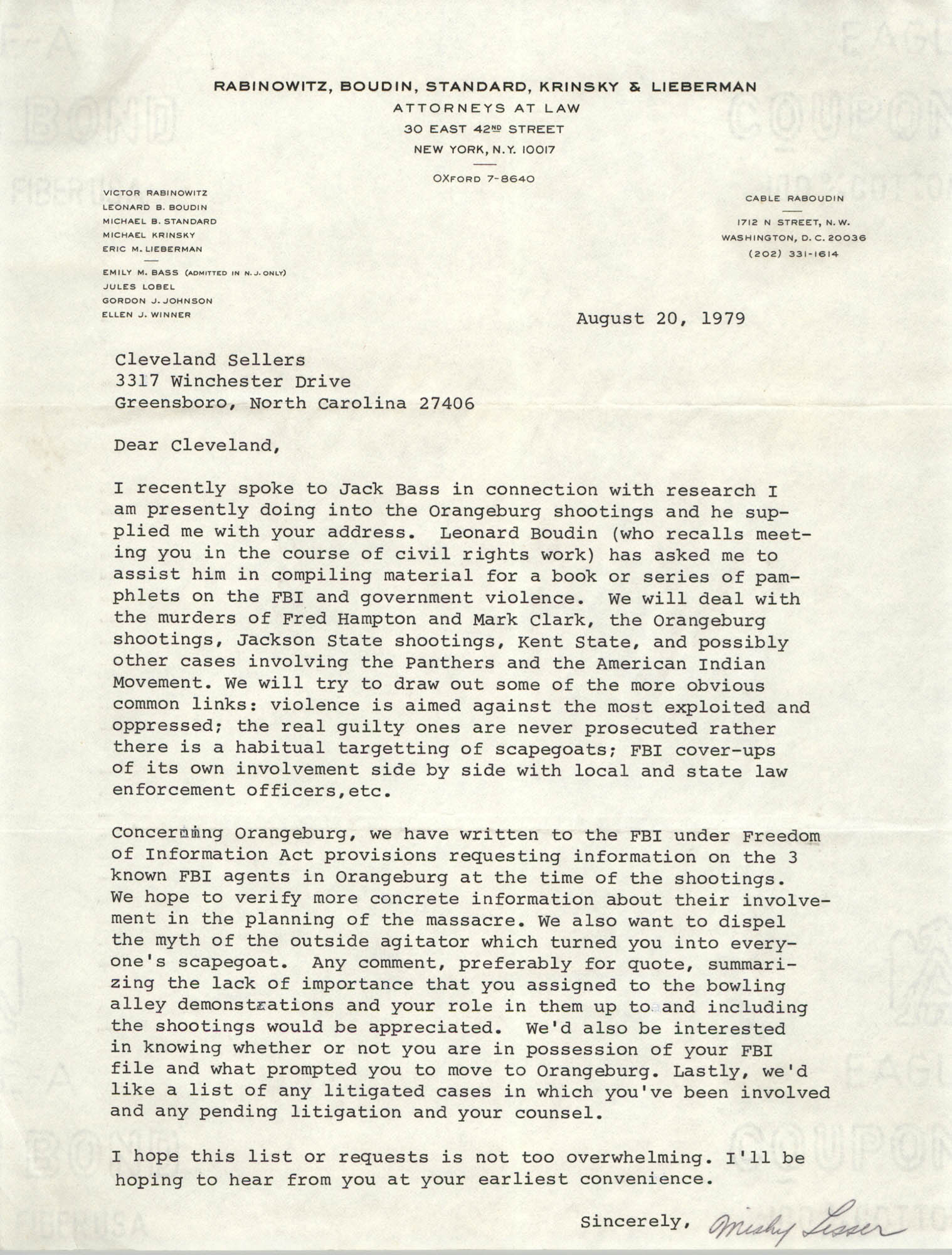Letter from Mishy Lesser to Cleveland Sellers, August 20, 1979