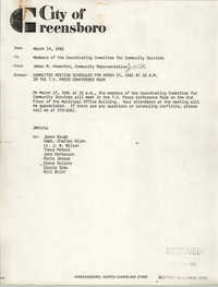 City of Greensboro Memorandum, March 19, 1981