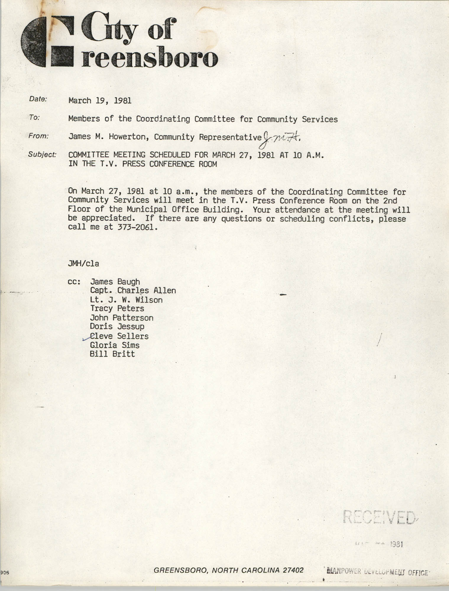 City of Greensboro Memorandum, March 19, 1981
