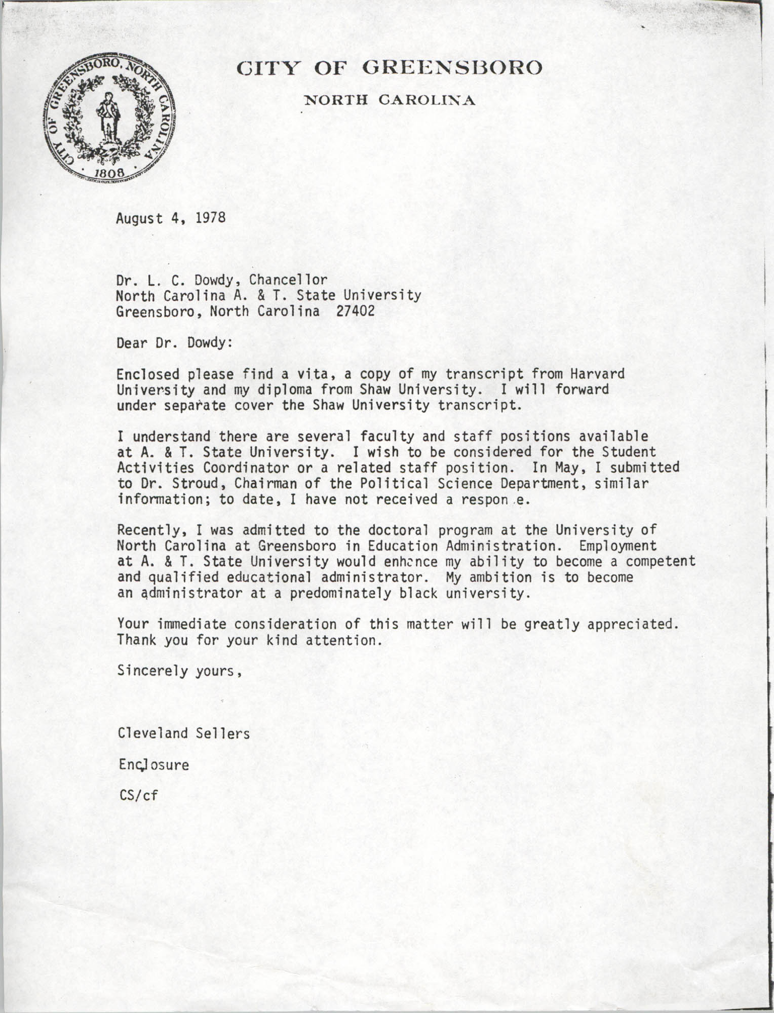 Letter from Cleveland Sellers to L. C. Dowdy, August 4, 1978