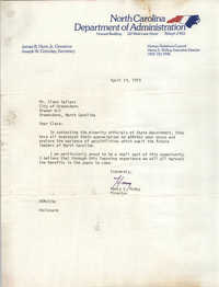Letter Henry E. McKoy to Cleveland Sellers, April 19, 1979