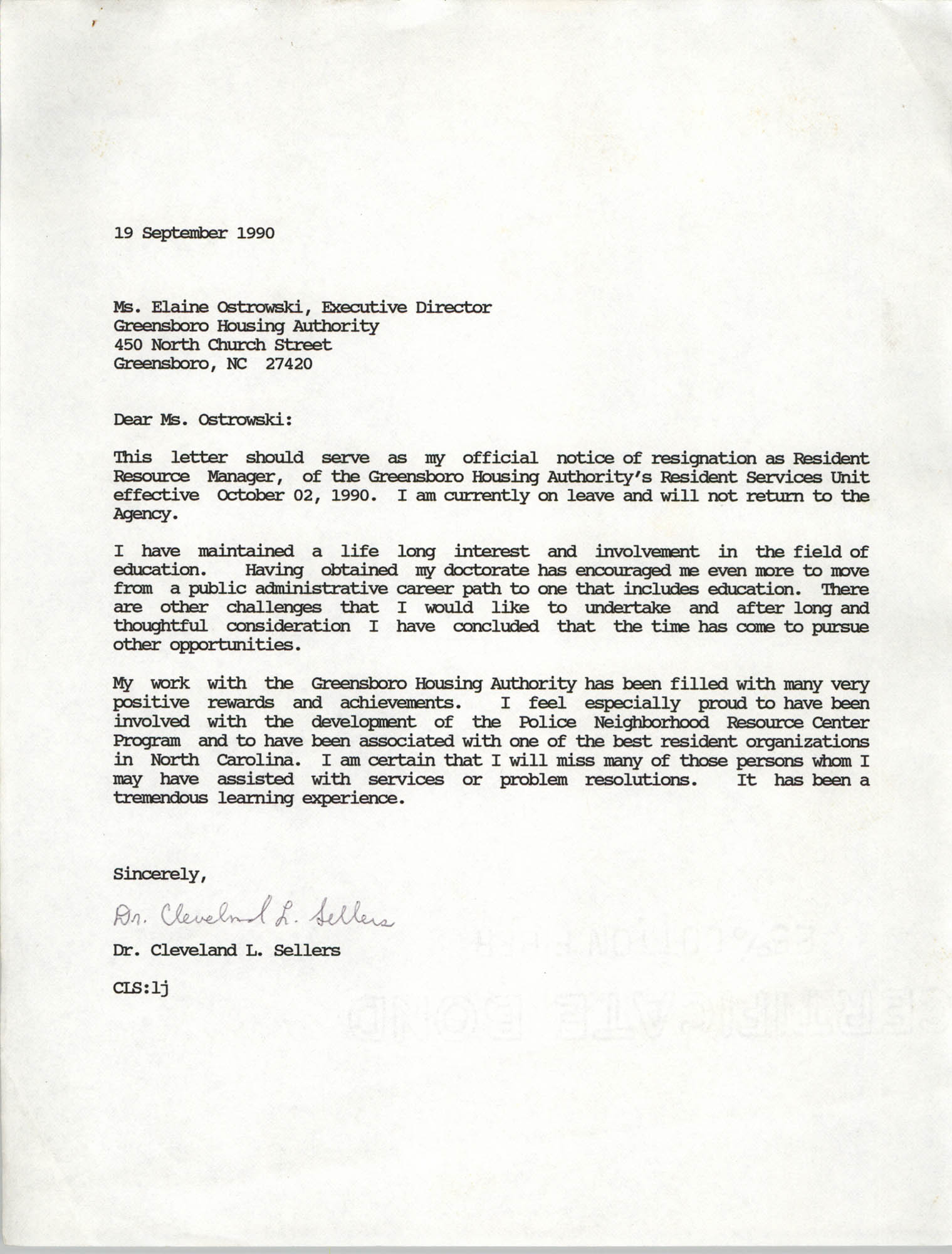Letter from Cleveland Sellers to Elaine Ostrowski, September 19, 1990